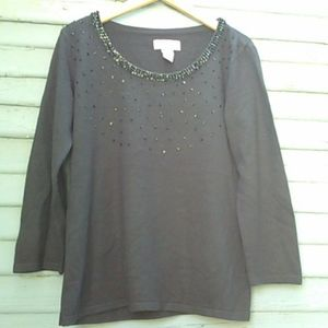 Covington black knit embroidered top  M 3/4 Sleeve